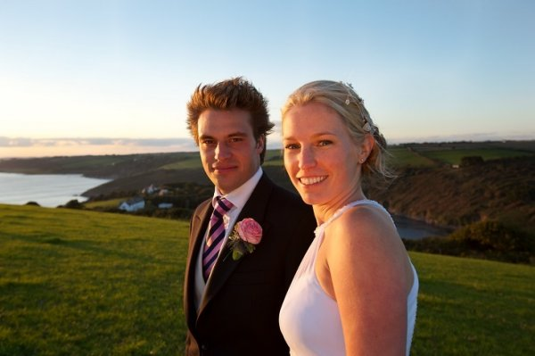 Beautiful Bride and groom in sunset at Wurzell Wedding Venue