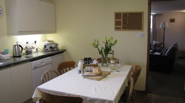 Higher Shippen Kitchen with welcome pack on table